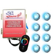 Led Piscina - Kit 8 Led Tholz 9W Inox RGB com Central e Controle Touch