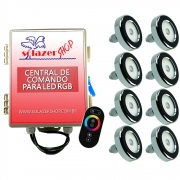 Led Piscina - Kit 8 Tholz Inox RGB 18W + Central + Controle Touch