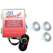Led Piscina RGB - Kit 3 Led Tholz 4,5W ABS com Central e Controle Touch