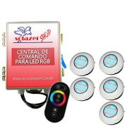Led Piscina RGB - Kit 5 Easy Led 70 com Central e Controle Touch