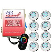 Led Piscina RGB - Kit 8 Easy Led 70 com Central e Controle Touch