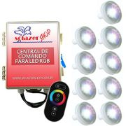 Kit 9 Led Piscina 4,5W ABS + Central + Controle Touch - Tholz