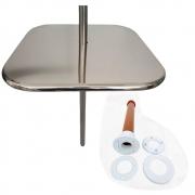 Mesa Quadrada para Piscina em Inox com Chumbador - 60cm