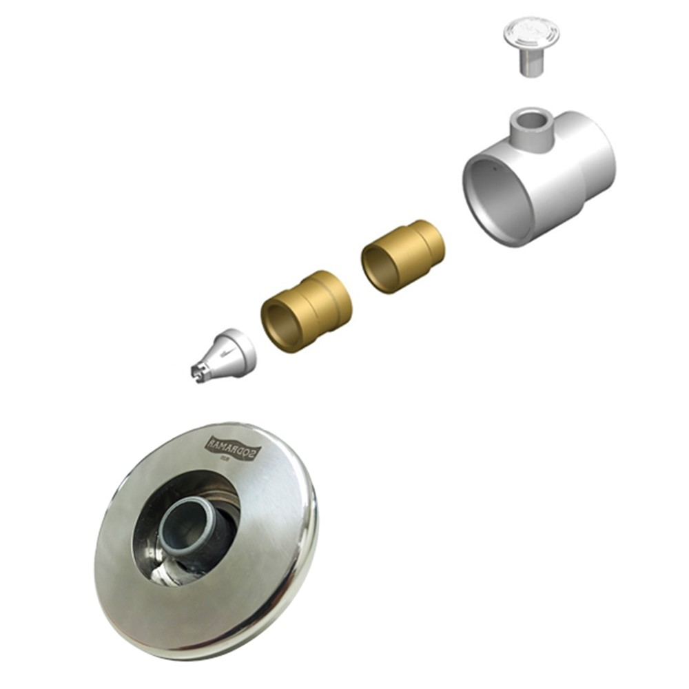 3 Dispositivos de Hidromassagem Inox Flat + Bomba Sodramar Piscina