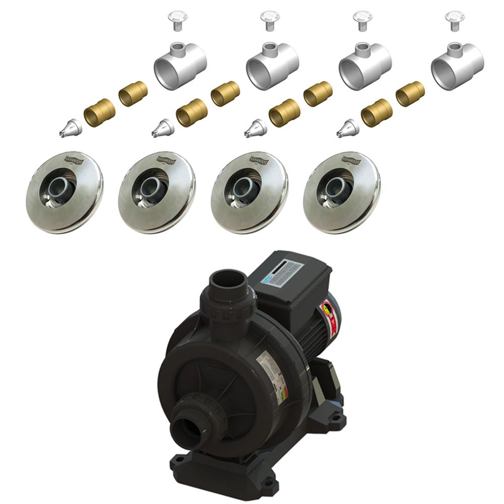 4 Dispositivos de Hidromassagem Inox Flat+ Bomba Sodramar Piscina