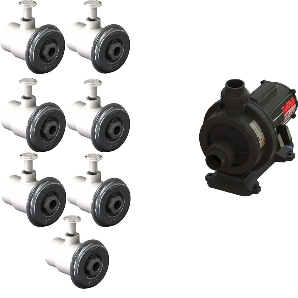 7 Dispositivo Hidromassagem Inox Standard Vinil + Bomba Sodramar Piscina