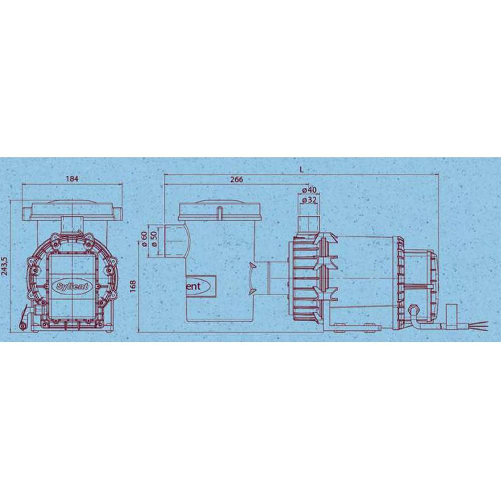 Bomba Piscina c/ pré filtro 1/2CV IP68 - Syllent