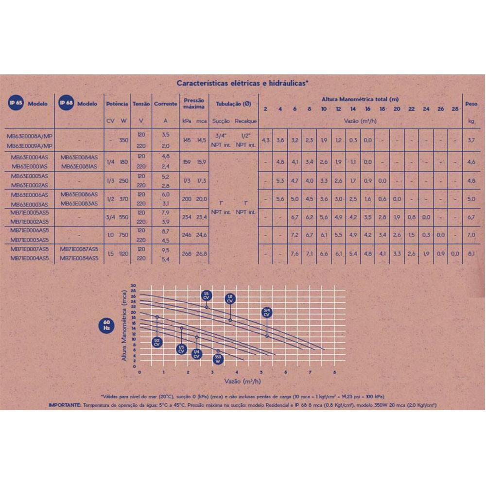Bomba Piscina s/ pré filtro Residencial 3/4 CV IP68 - Syllent