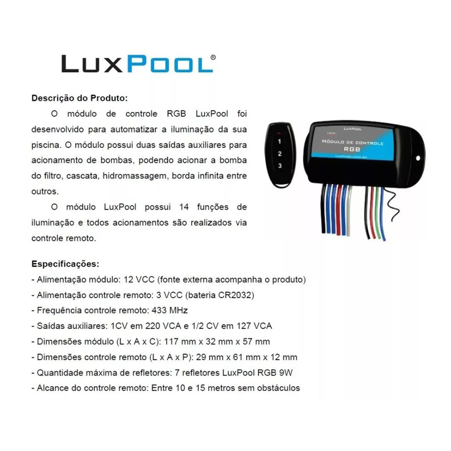 Central de comando LED Piscina + 2 saídas motobomba - Luxpool