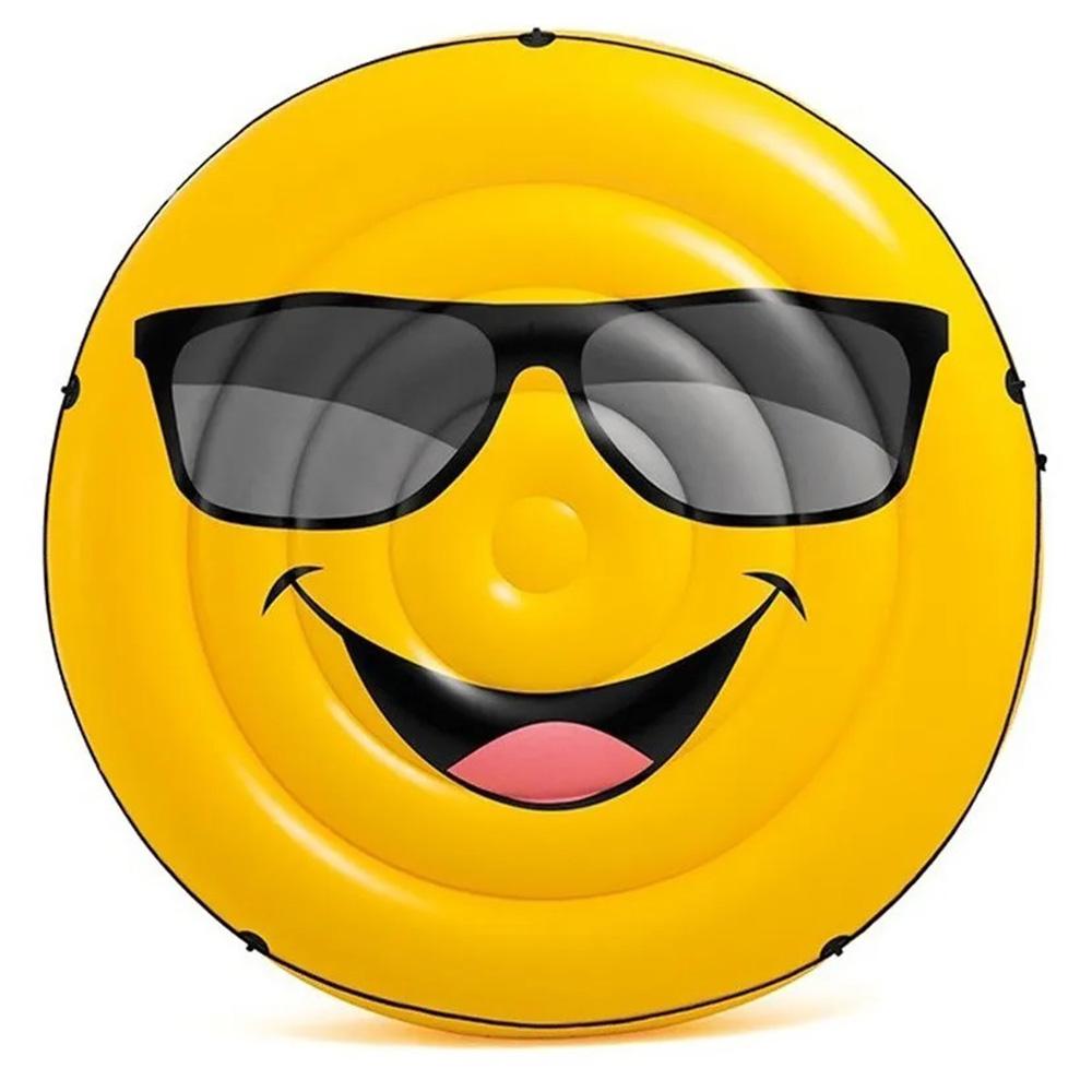 Boia Piscina Inflável Para Piscina Emoji Óculos de Sol 173cm