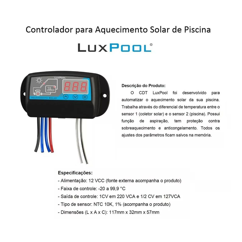 Controlador de Temperatura - Aquecedor Solar Piscina - Luxpool
