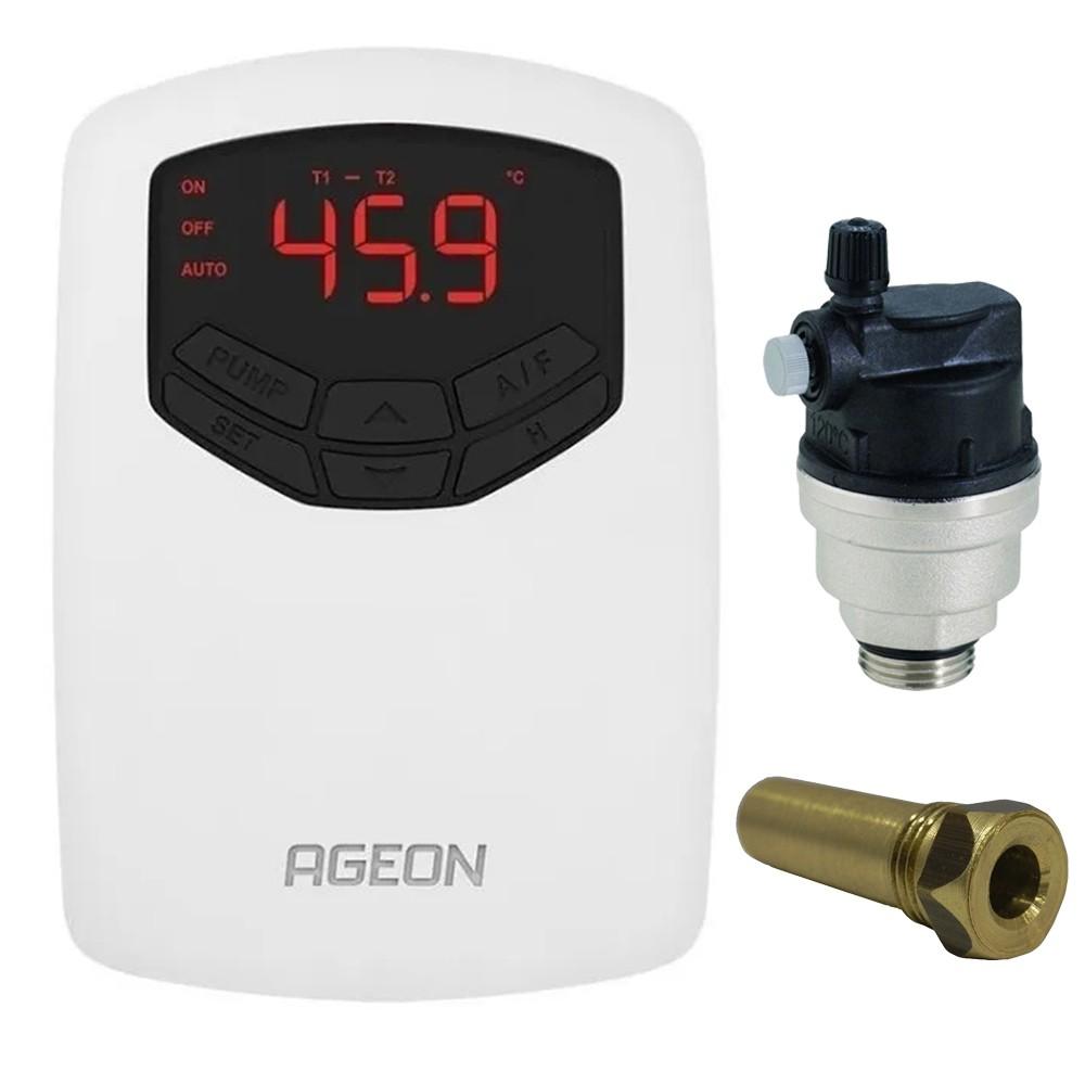Controlador Temperatura Ageon + Válvula + Poço Aquecedor Solar Piscina
