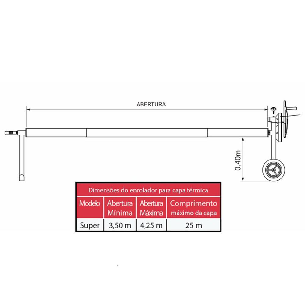 Enrolador Capa térmica até 4 x 25 em aço inox e tubo de alumínio