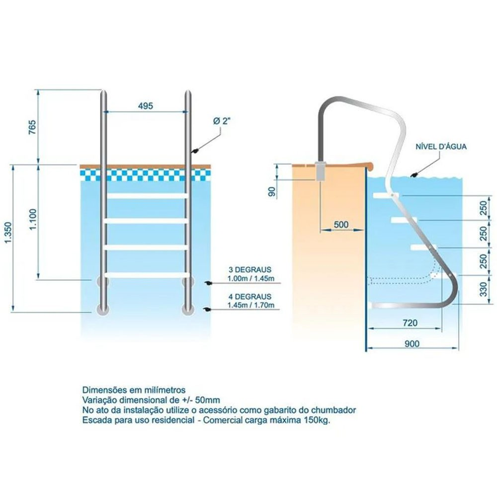 Escada aço inox 316 Confort 2' com 3 degraus duplos em aço inox