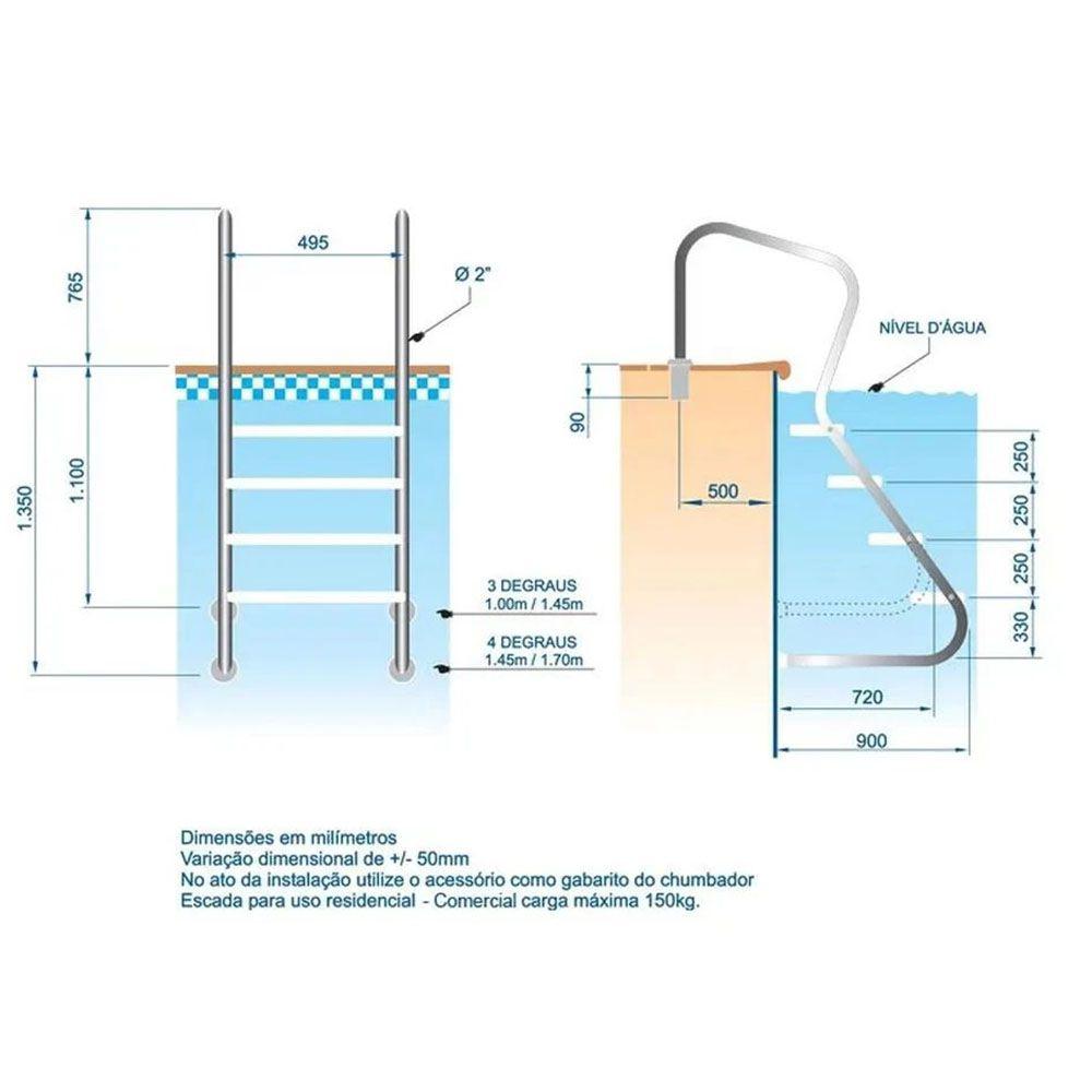 Escada em aço inox Confort 2' com 3 degraus duplos em aço inox