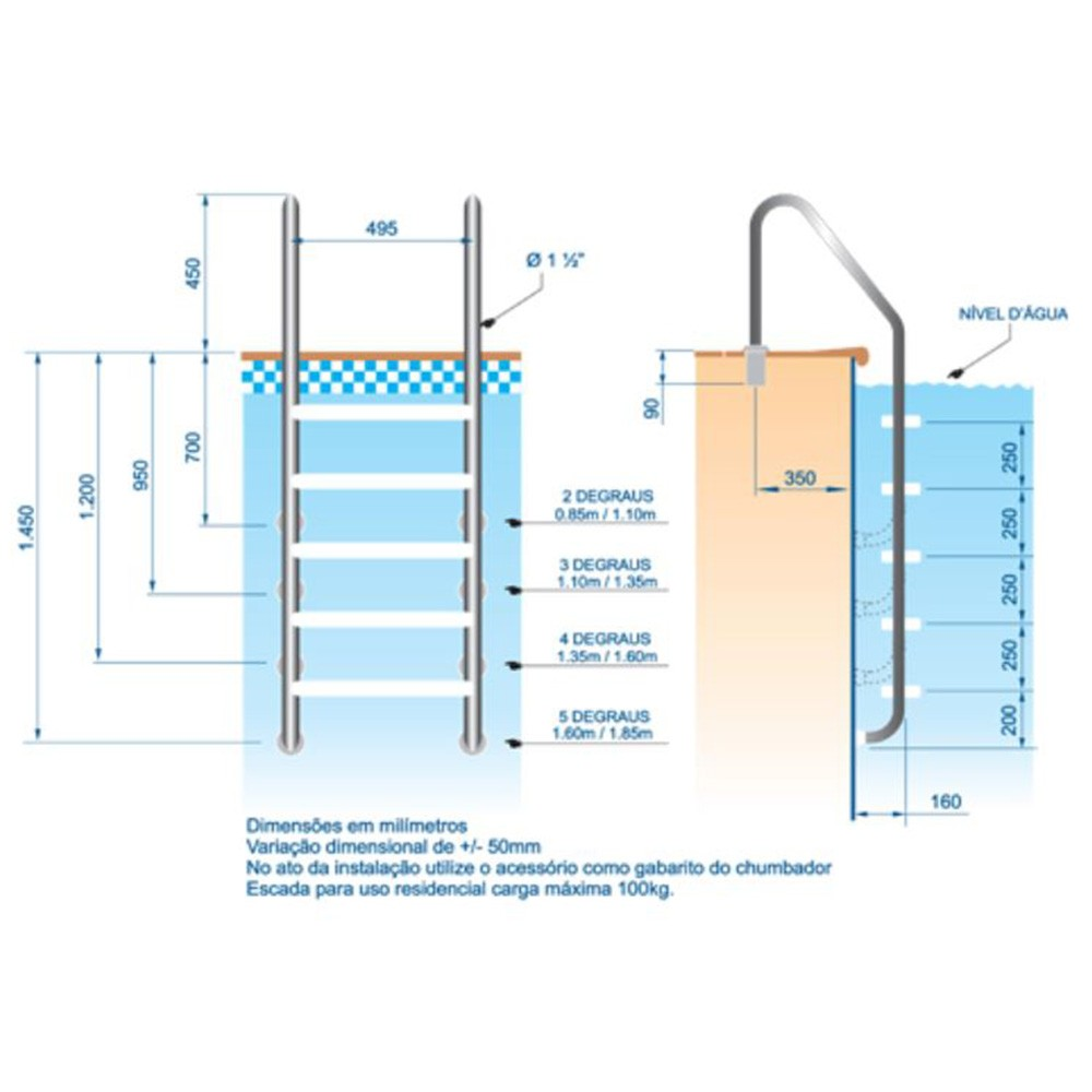 Escada para Piscina 3 degraus ABS - Sodramar Aço Inox 316