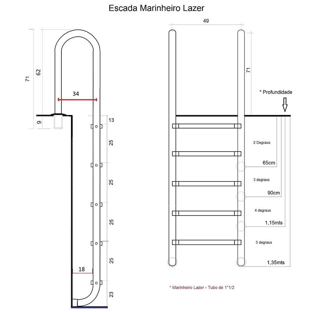 Escada para Piscina Marinheiro Lazer de 3 à 5 degraus Inox 316