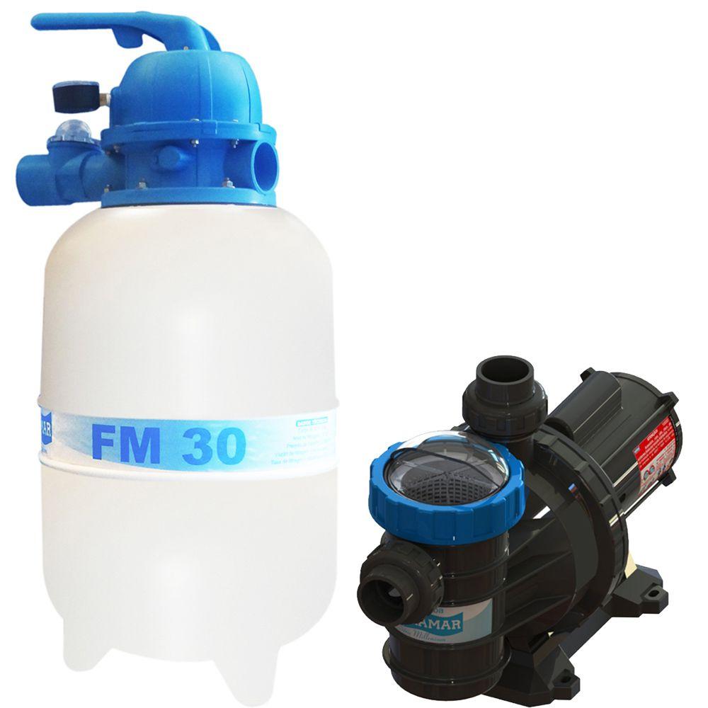 Filtro FM30 e Motobomba 1/4CV BMC25 Sodramar - Piscinas até 28.000 L