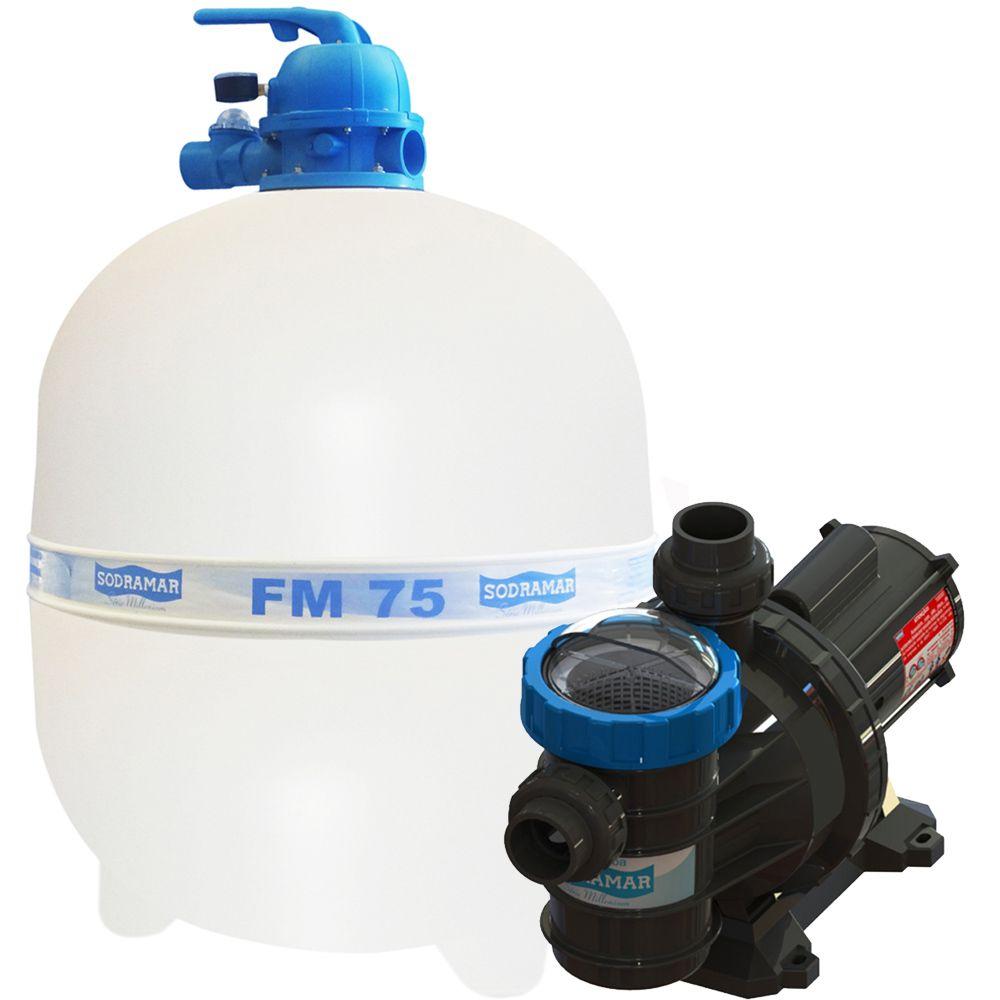 Filtro Piscina FM75 e Motobomba 1,5CV BMC-150 Sodramar - até 176.000 L
