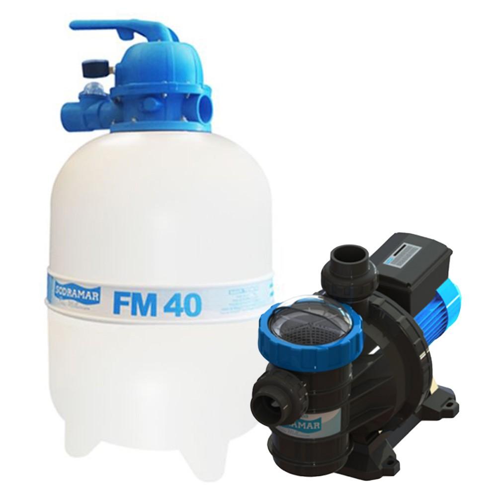 Filtro Piscina FM40 e Motobomba 1/2CV BMC50 Sodramar -  até 50.000 L