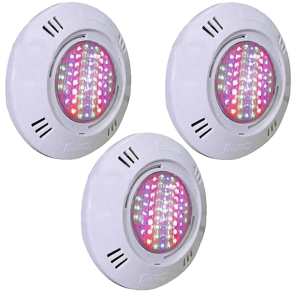 Iluminação 3 Leds para Piscina SMD 9W RGB Colorido - Sodramar