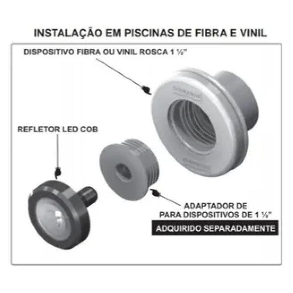 ILUMINAÇÃO LED PISCINA ALTO ALCANCE 12M 5W RGB - Sodramar