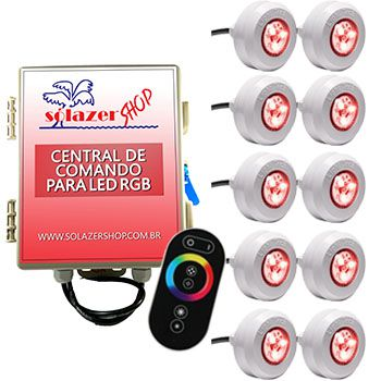 Led Piscina - Kit 10 Led Tec Light ABS RGB com Central e Controle Touch
