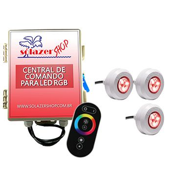 Led Piscina - Kit 3 Led Tec Light ABS RGB com Central e Controle Touch
