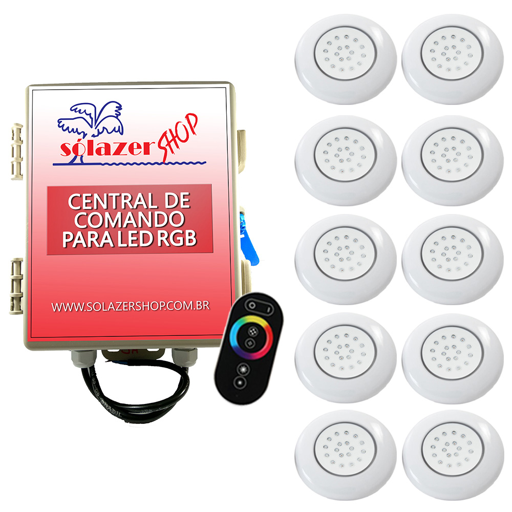 Kit 10 LED Piscina ABS RGB 18W + Central + Controle Touch