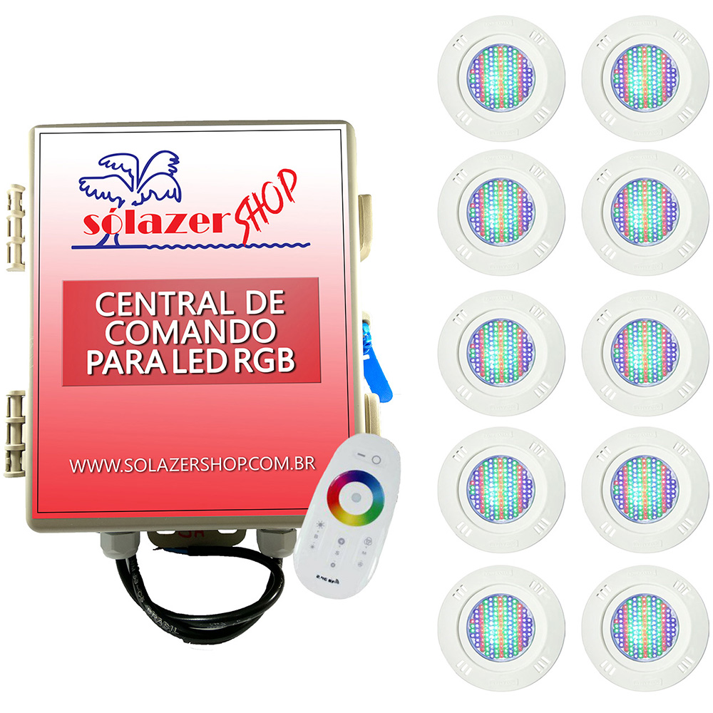 Kit 10 Led Piscina Pratic SMD 5w + Central Touch - Sodramar
