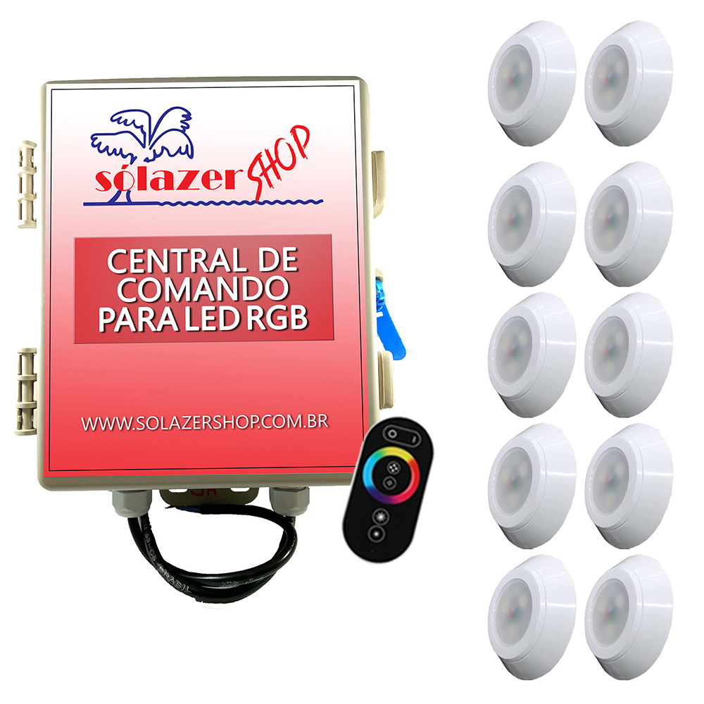Kit 10 Led Piscina RGB 9W ABS Divina Lux + Central + Controle