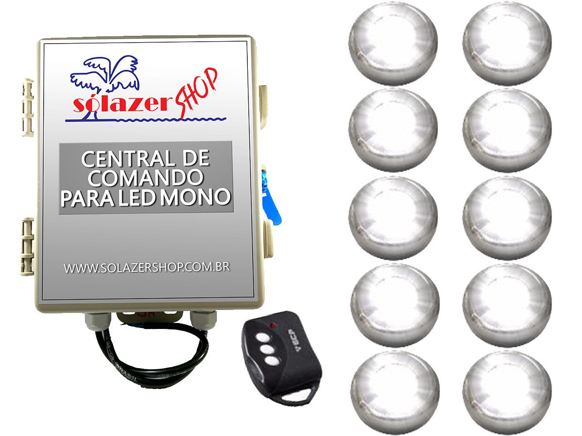 Kit 10 Led Piscina Inox Monocromático 9w + Central - Tholz