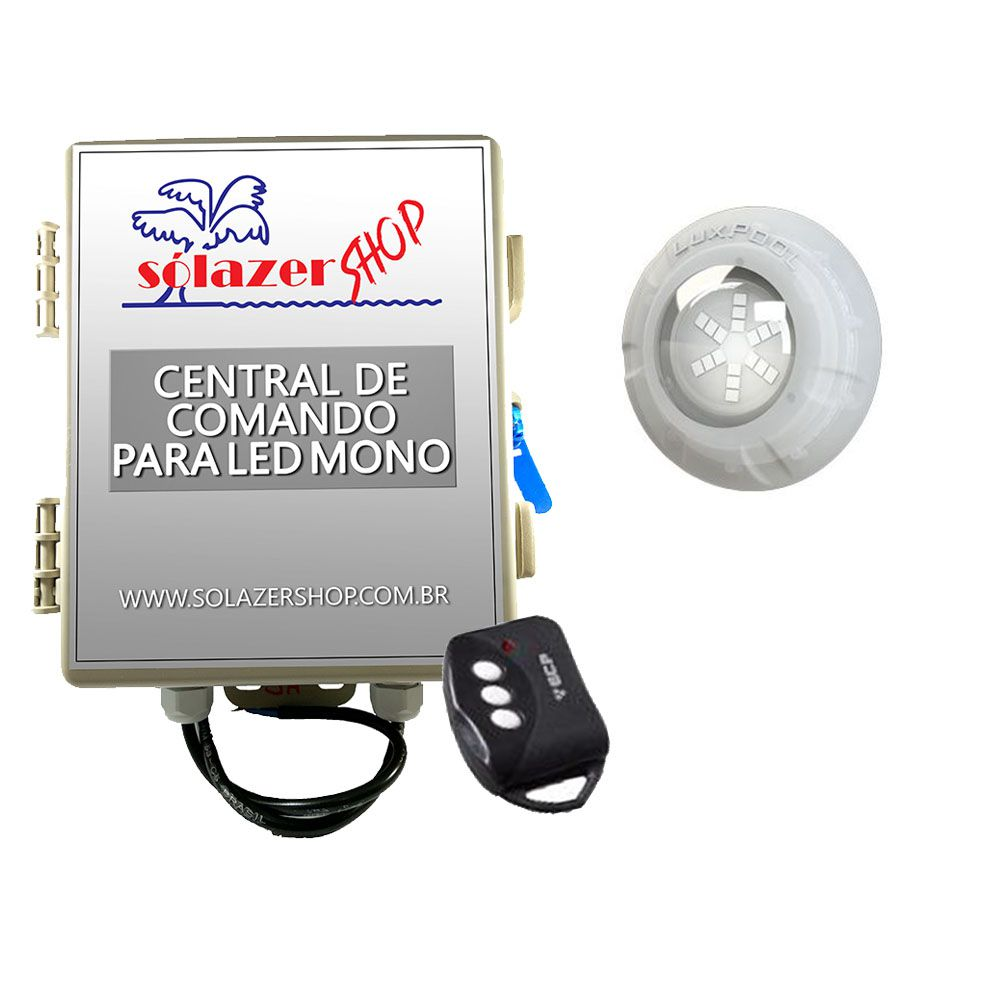 Kit 1 Led Piscina Monocromático 9W + Central + Controle - Luxpool