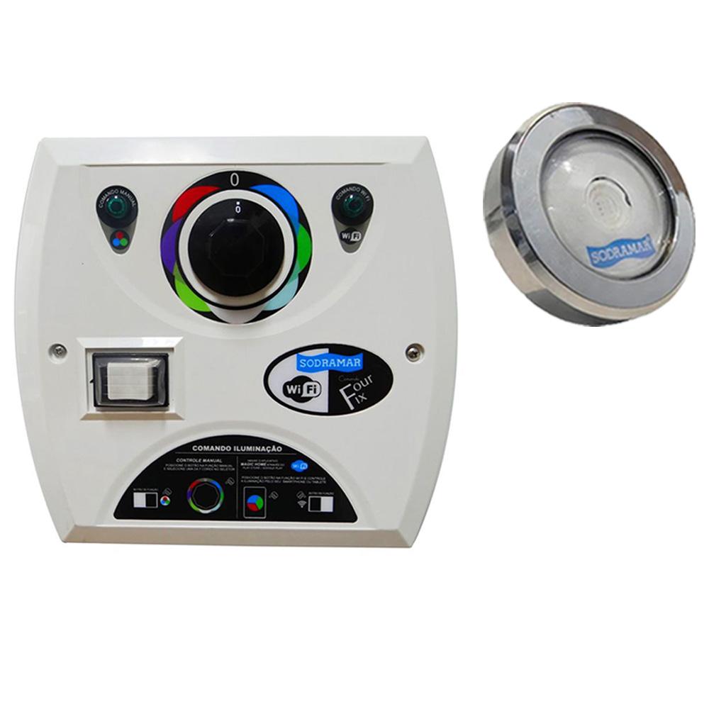 Kit 1 LED Piscina RGB COB Colorido + Central Wifi Sodramar