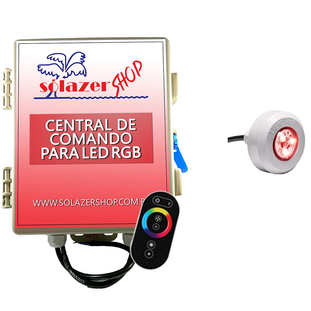 Kit 1 Led Piscina RGB Colorido + Central + Touch - Light Tech
