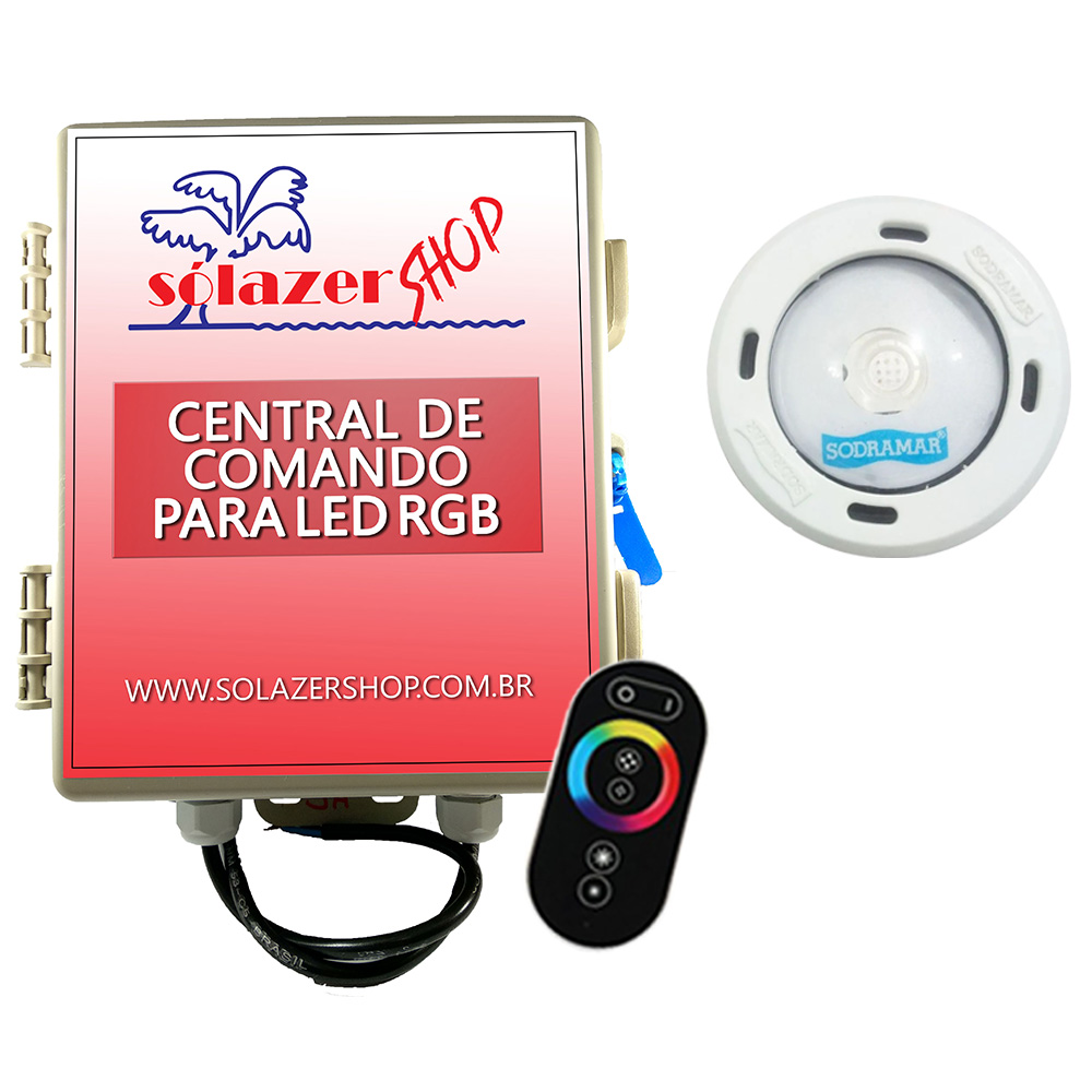 Kit 1 Led Piscina RGB Colorido COB Sodramar + Central Touch
