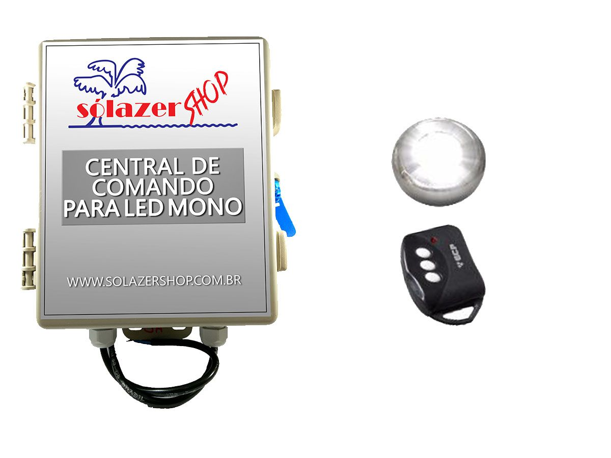 Kit 1 Led Piscina Inox Monocromático 9w + Central - Tholz