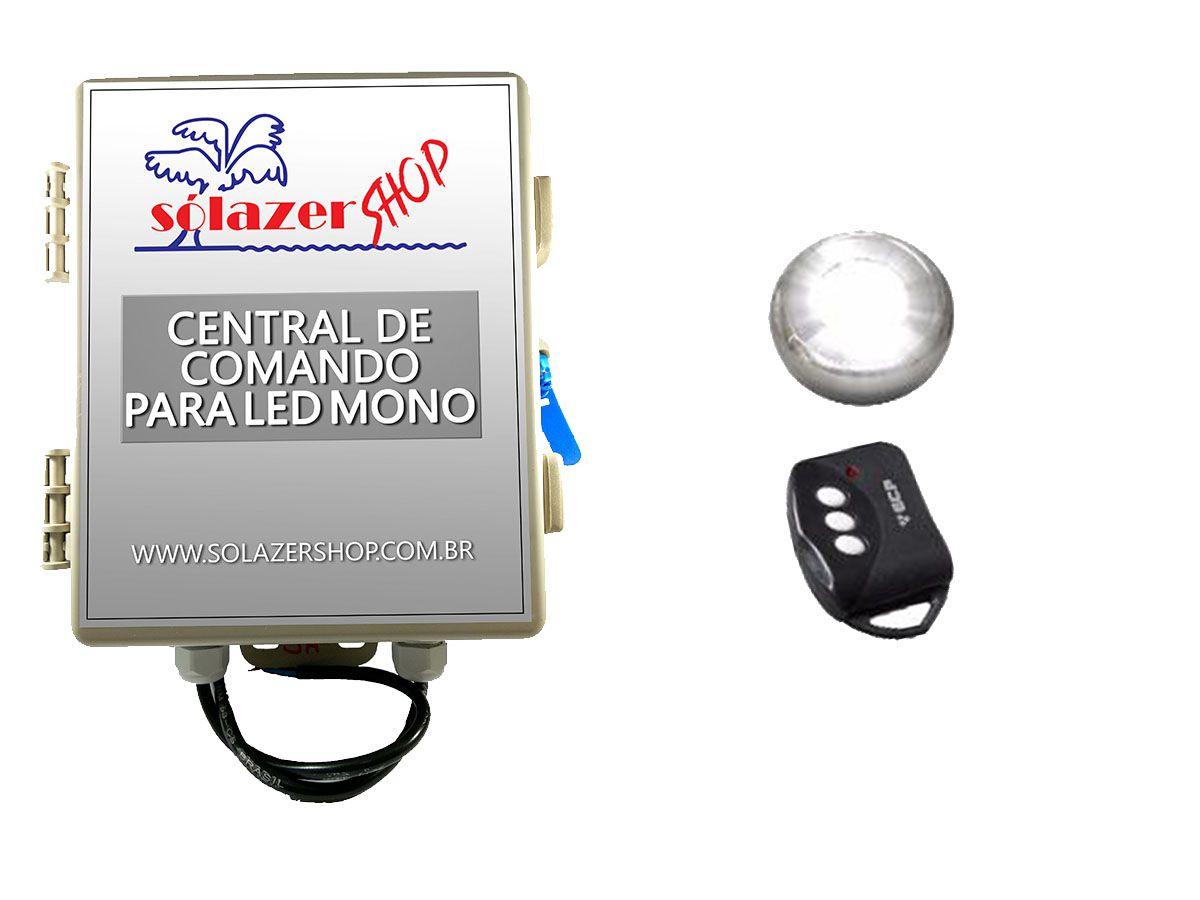 Kit 1 Led Piscina Inox Monocromático 9w + Central - Tholz