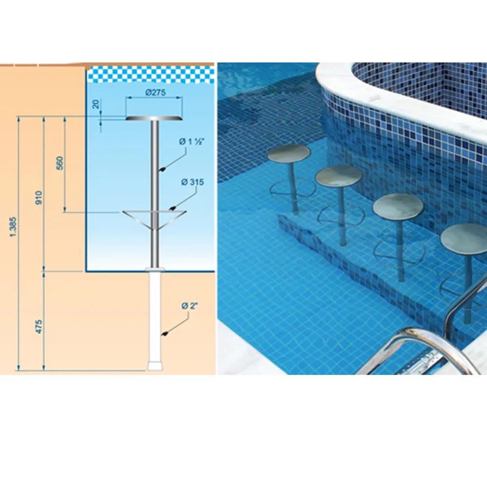 Kit 2 Banco em inox para piscina Sodramar + Chumbador