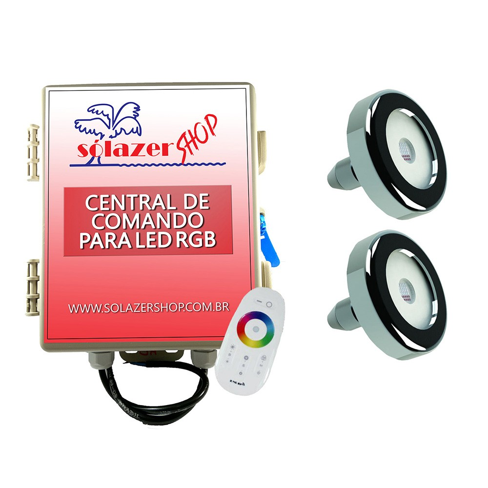 Kit 2 Led Piscina Inox RGB 6W + Central + Controle - Tholz