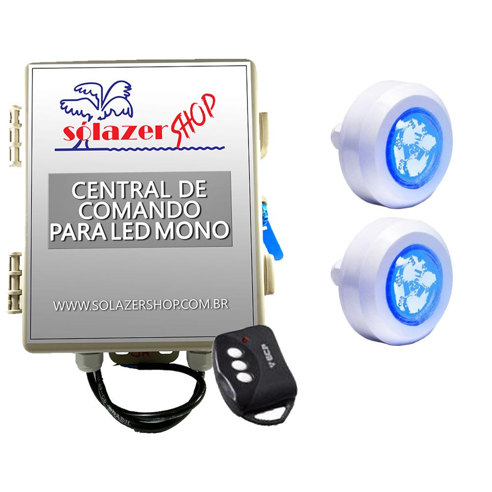 Kit 2 Led Piscina Monocromático 4,5W + Central + Controle - Tec Light