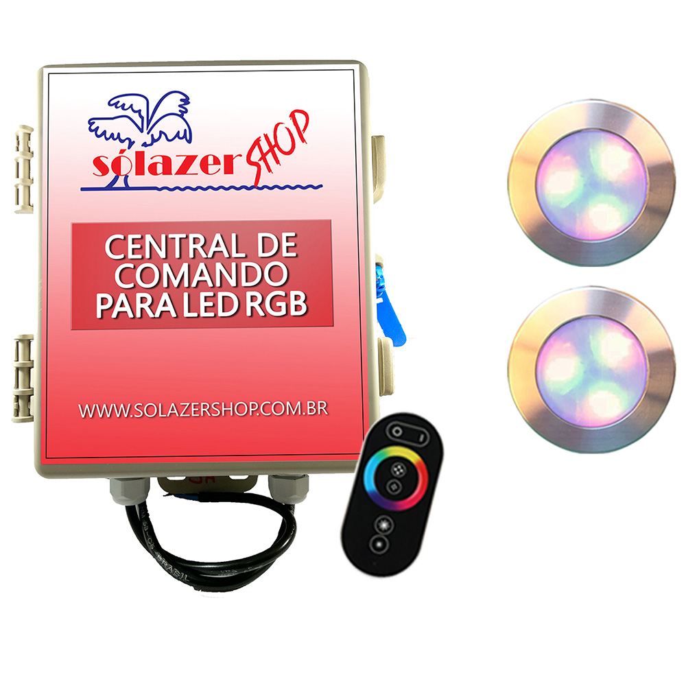 Kit 2 Led Piscina RGB 12W Inox Divina Lux + Central + Controle