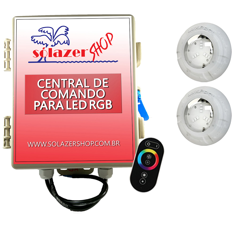 Kit 2 Led Piscina RGB 4W + Central + Controle Touch - Luxpool
