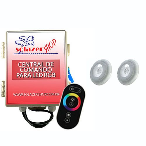 Kit 2 Led RGB 9W Luxpool + Central de comando +  2 Adaptador