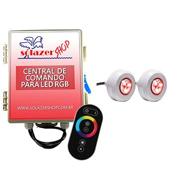 Led Piscina - Kit 2 Led Tec Light ABS RGB com Central e Controle Touch