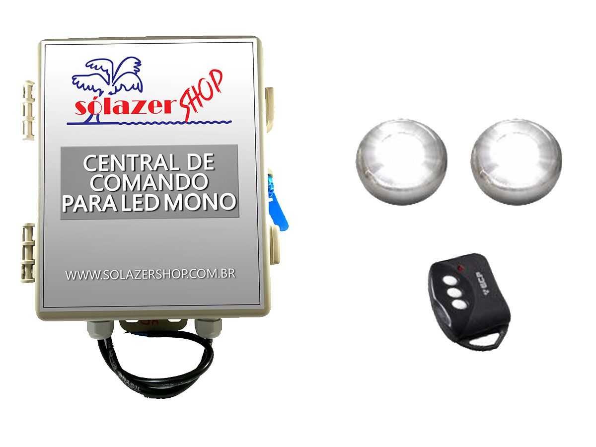 Kit 2 Led Piscina Inox Monocromático 9w + Central - Tholz
