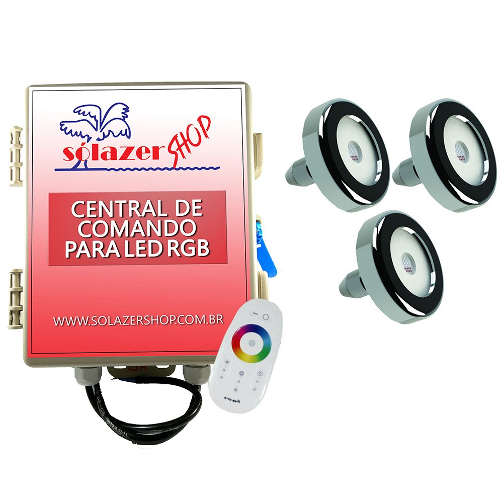 Kit 3 Led Piscina Inox RGB 6W + Central + Controle - Tholz