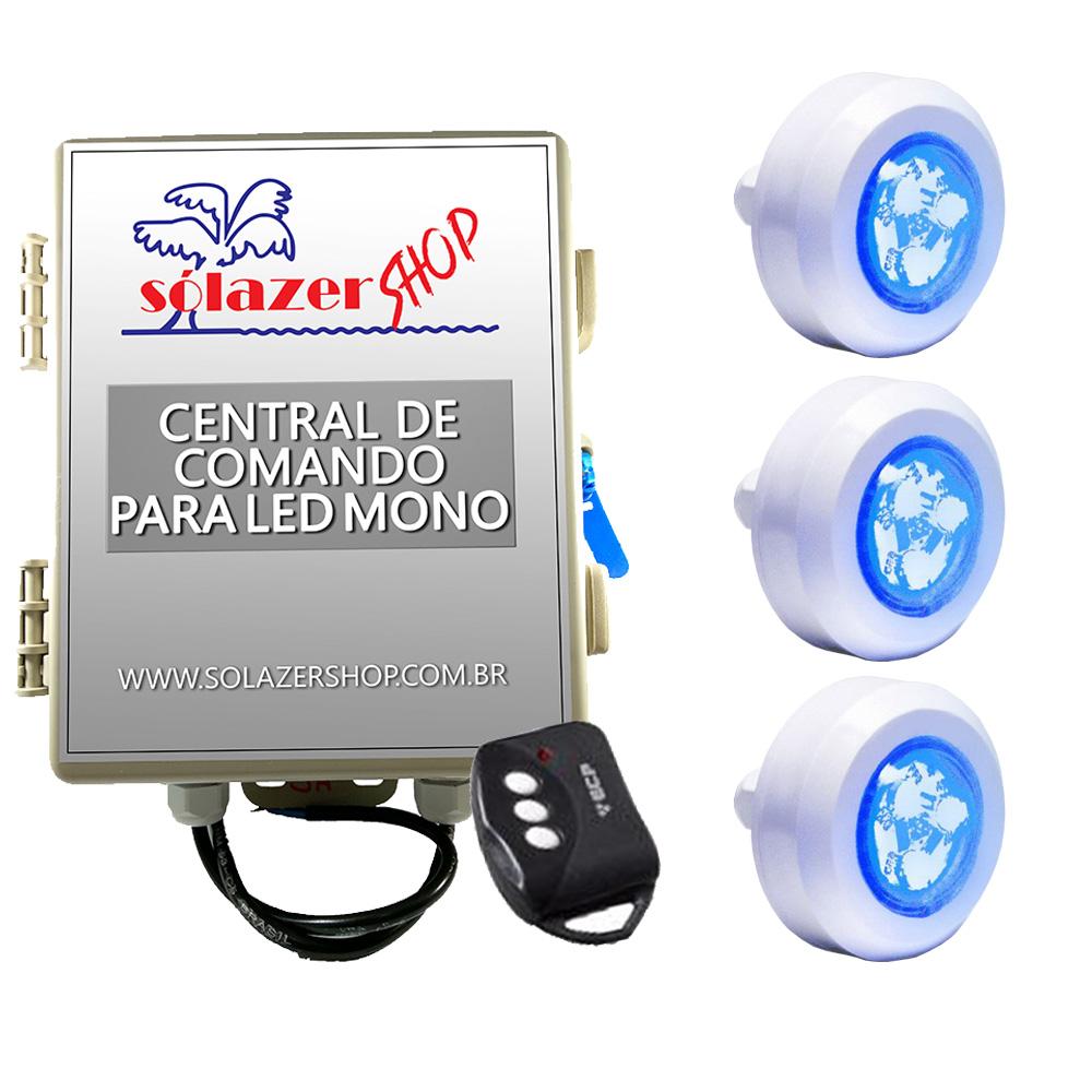 Kit 3 Led Piscina Monocromático 4,5W + Central + Controle - Tec Light