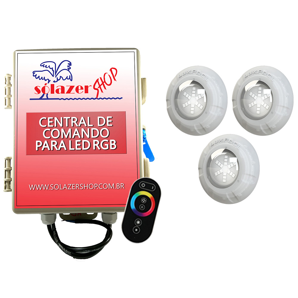 Kit 3 Led Piscina RGB 9W + Central + Controle Touch - Luxpool