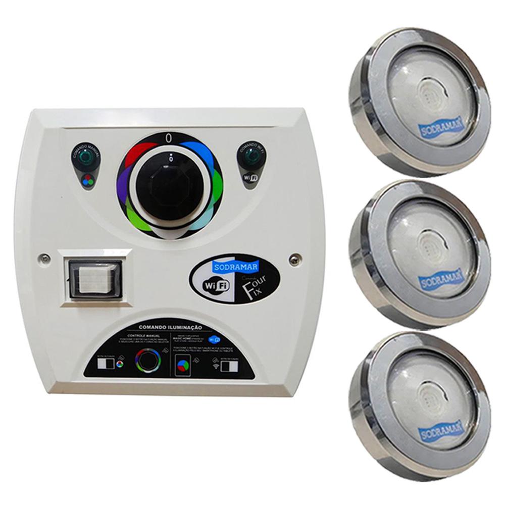 Kit 3 LED Piscina RGB COB Colorido + Central Wifi Sodramar